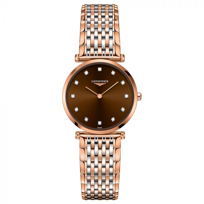 Longines La Grande Classique 29mm Brown Dial Steel and Rose Gold PVD Ladies Diamond Watch L45121677