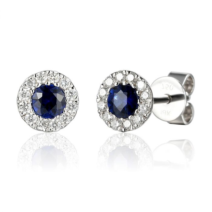 18ct White Gold 0.40ct Sapphire And 0.14ct Diamond Halo Earrings