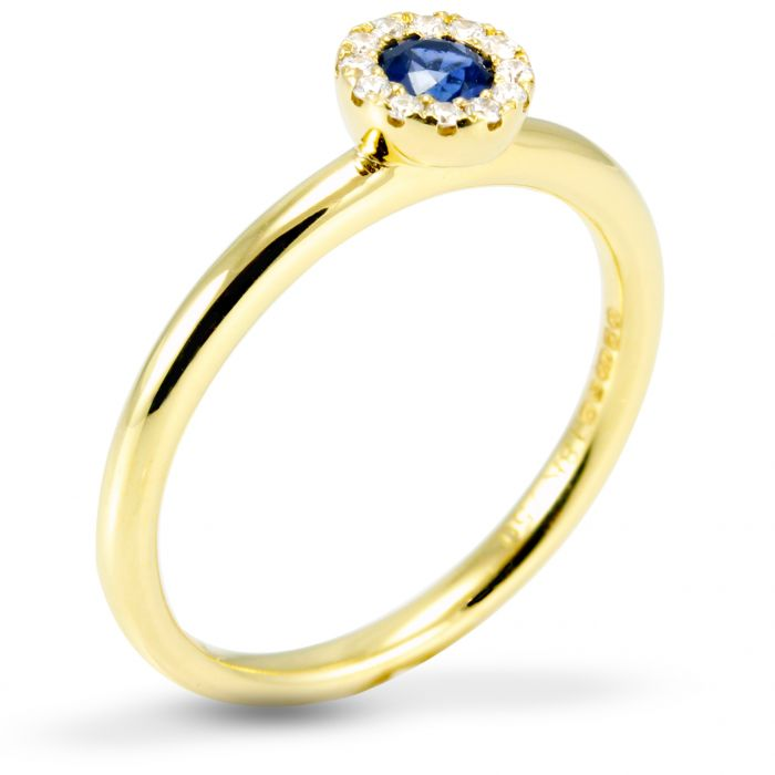 The Veronica 18ct Yellow Gold 0.20ct Sapphire And 0.07ct Diamond Ring