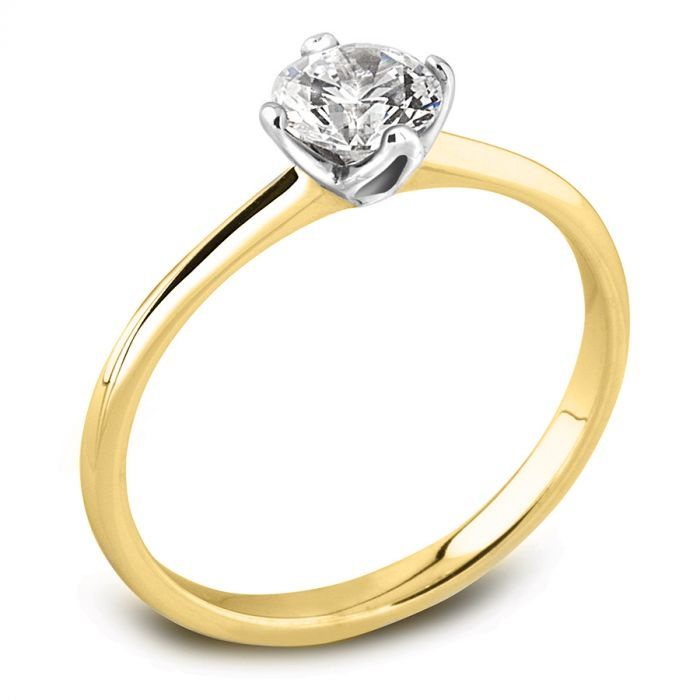 The Lotus 18ct Yellow Gold Round Brilliant Diamond Engagement Ring