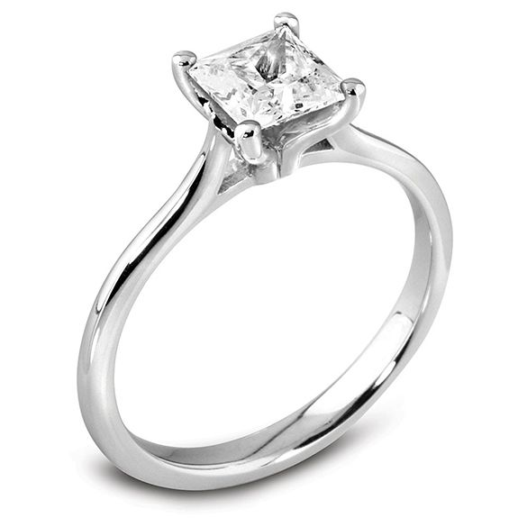 The Jasmine Platinum Princess Cut Diamond Engagement Ring