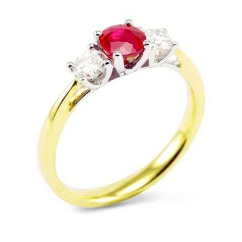 The Poinsettia Yellow Gold 0.57ct Round Brilliant Ruby and 0.32ct Diamond Ring