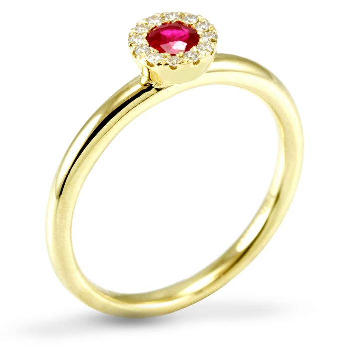 The Poppy 18ct Yellow Gold 0.18ct Ruby And 0.07ct Diamond Ring