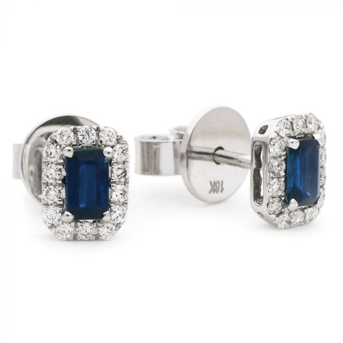 18ct White Gold 0.65ct Emerald Cut Sapphire And 0.25ct Diamond Halo Earrings