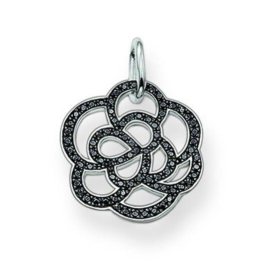 Thomas Sabo Silver and Black Cubic Zirconia Flower Pendant PE520-051-11  SPECIAL