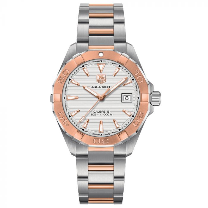 TAG Heuer Gents Aquaracer 41mm White Dial Steel and 18ct Rose Gold Automatic Watch WAY2150.BD0911 SPECIAL