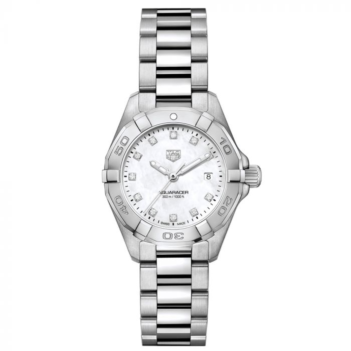 TAG Heuer Ladies Aquaracer 27mm White MOP Dial Stainless Steel Diamond Watch WBD1414.BA0741 SPECIAL