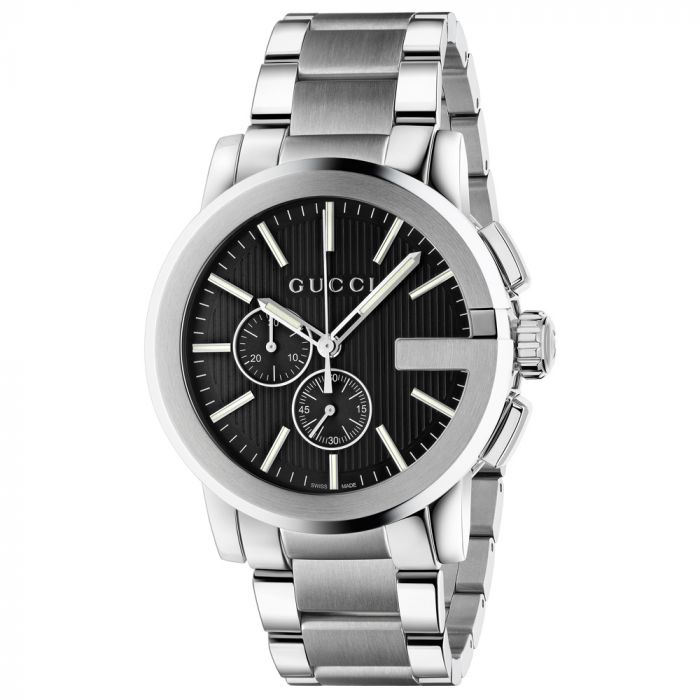 Gucci Gents G-Chrono Black Dial Stainless Steel Watch YA101204