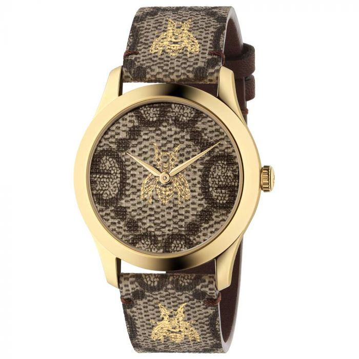 Gucci Ladies G-Timeless Gold PVD & Brown Dial Watch YA1264068