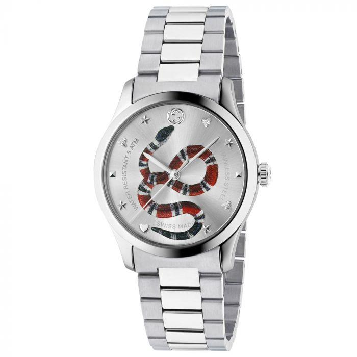 Gucci G-Timeless Stainless Steel Silver Dial with Snake Motif Watch YA1264076