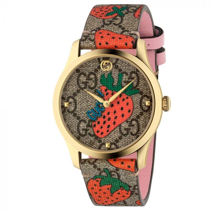 Gucci Ladies G-Timeless Gold Plated Strawberry Leather Strap Watch YA1264133 SPECIAL