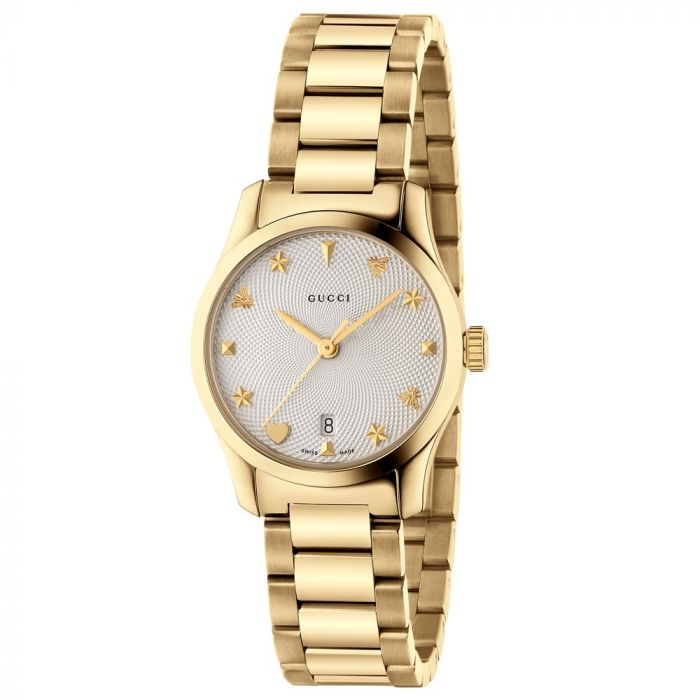 Gucci Ladies G-Timeless Guilloche Gold PVD Stainless Steel Silver Dial Watch YA126576A