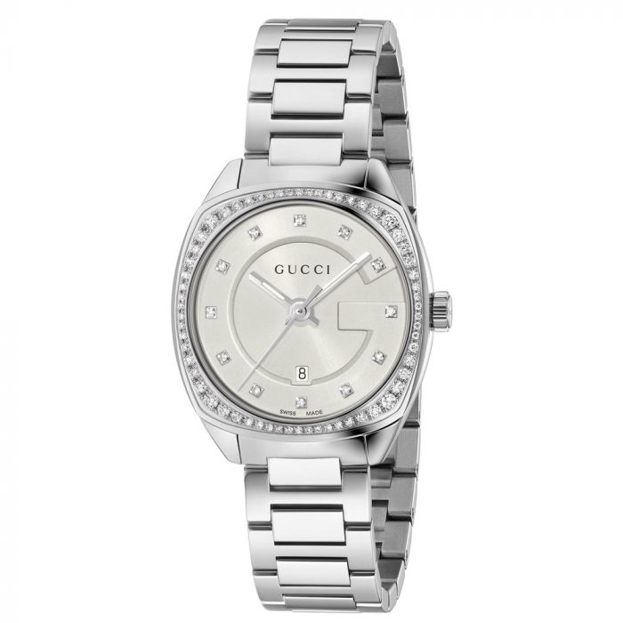 Gucci Ladies GG2570 White Dial Stainless Steel Watch YA142505 SPECIAL