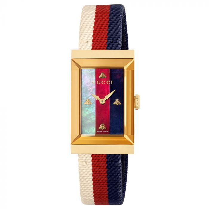 Gucci Ladies G-Frame Mixed-Coloured Mother of Pearl Dial Watch YA147405 SPECIAL