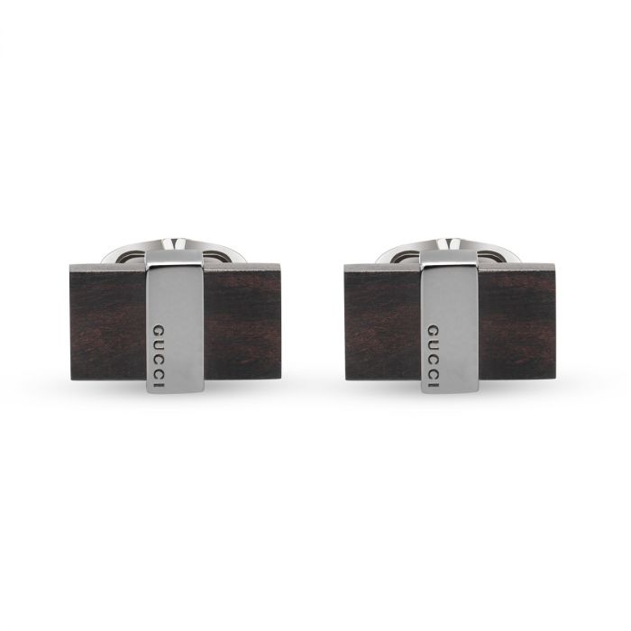 Gucci Gents Silver and Black Rectangle Cufflinks YBE37234500100U SPECIAL