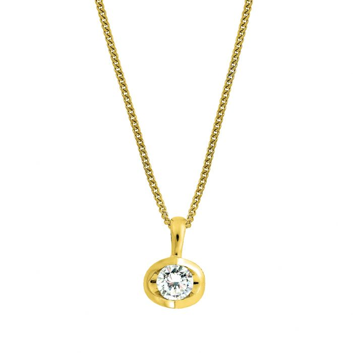 18ct Yellow Gold 0.10ct Diamond Eclipse Necklace